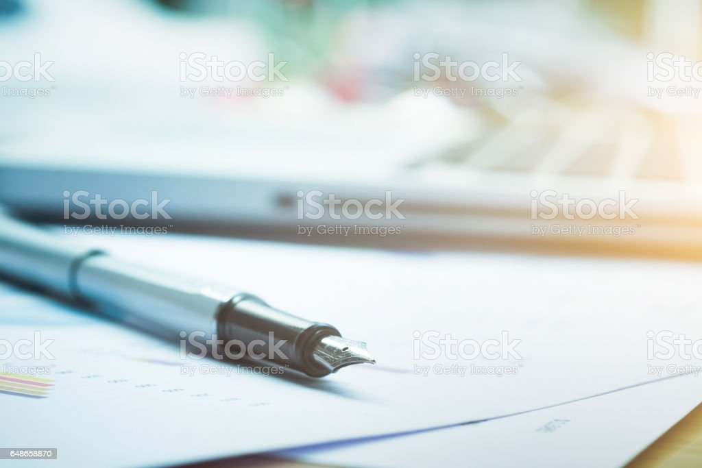 Closeup pen and blur background. stock photo