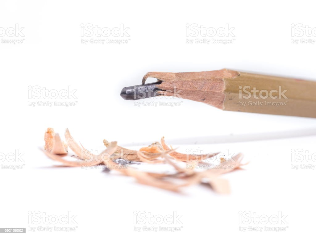 Closeup pencil with a broken tip on white  background stock photo