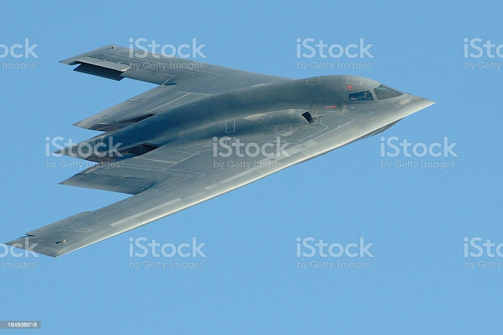 Close-up photo of a B-2 stealth bomber in flight royalty-free stock photo