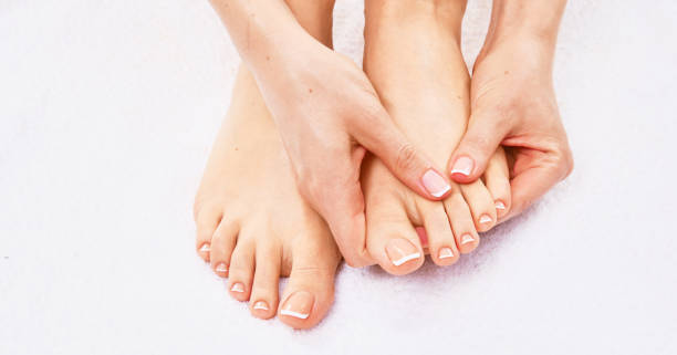 Closeup photo of a beautiful female feet with pedicure – zdjęcie
