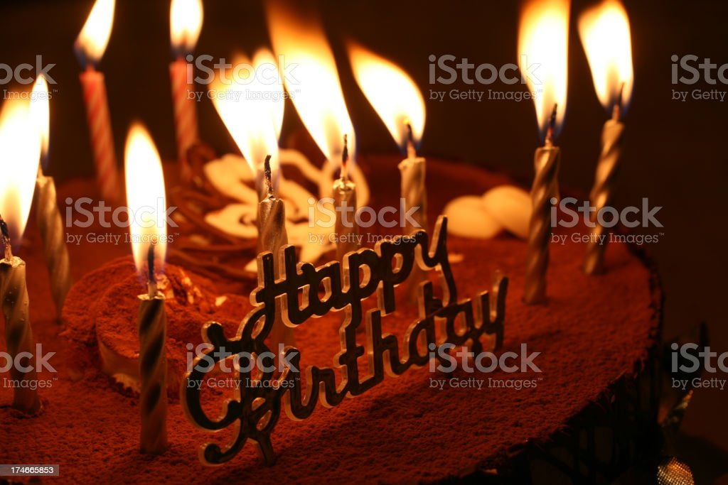 Close-up photo of a birthday cake with lit candles royalty-free stock photo