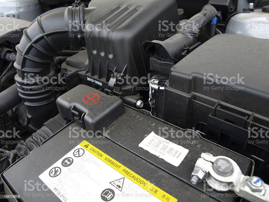 Close-up photo of a car battery stock photo