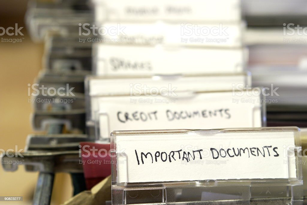 Close-up photo of a filing system stock photo