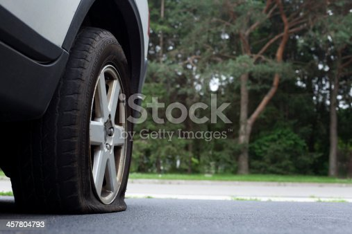 Car with a flat tire