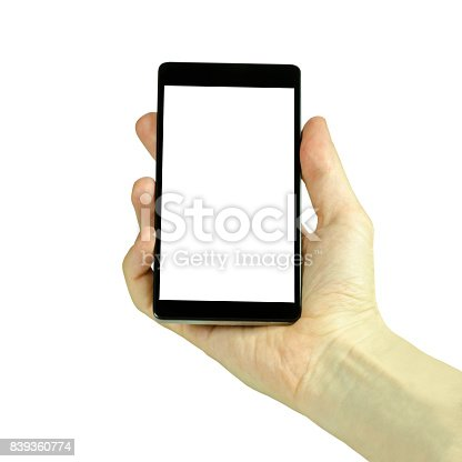 936543982istockphoto Closeup photo of a male hand holding a black cell phone with a blank white display, isolated on a white background 839360774