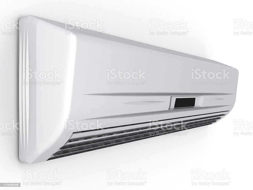 Close-up photo of an air conditioner with a white background royalty-free stock photo