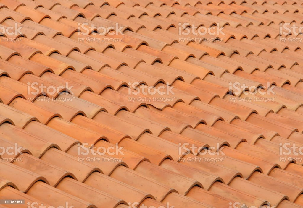 Close-up photo of clay roofing tiles stock photo