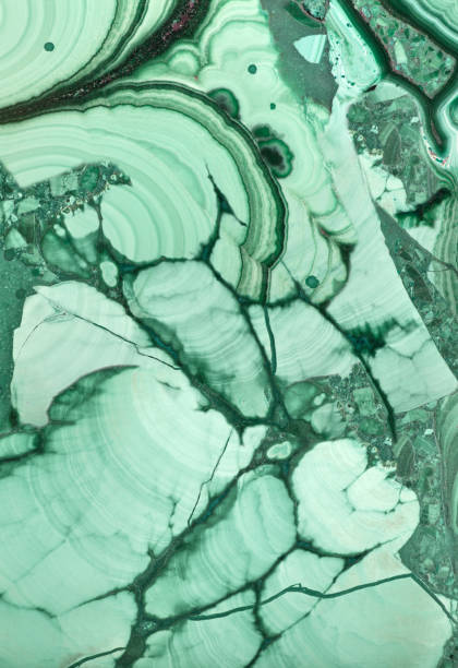 close-up photo of dark and light green malachite green malachite stone texture macro malachite stock pictures, royalty-free photos & images