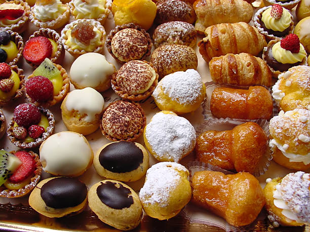 Close-up photo of delicious Italian pastries stock photo