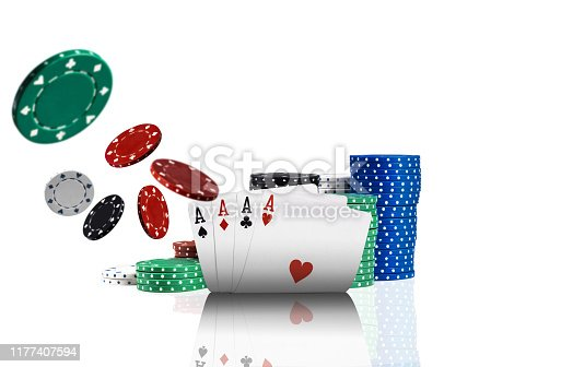 Close-up photo of four aces, colorful chips in piles standing behind and some of them are flying apart, isolated on white background. Gambling entertainment, poker, casino concept.
