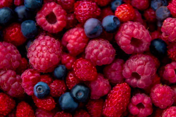 closeup photo of fresh colorful mix of berries: blueberry, raspberry and wild strawberry - berry stock photos and pictures