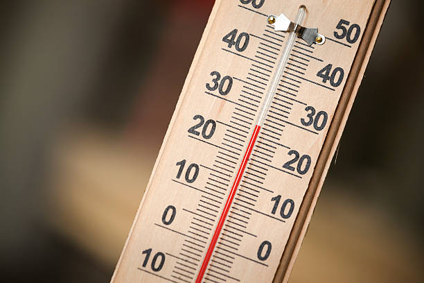 Closeup photo of household alcohol thermometer stock photo