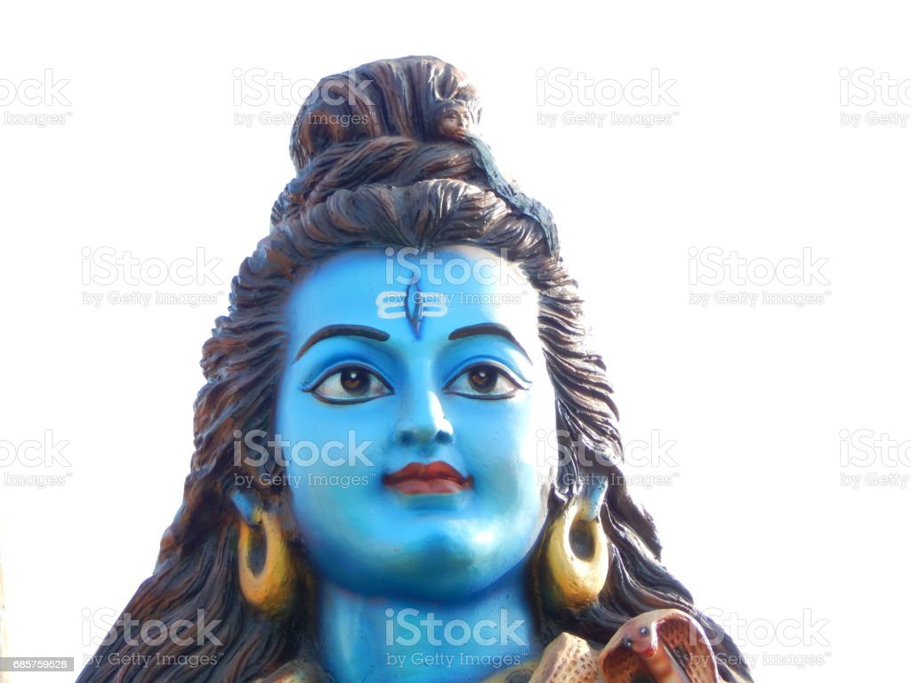 Closeup photo of Idol of Hindu God Shiva in outdoors in Temple,Hyderabad,India royaltyfri bildbanksbilder