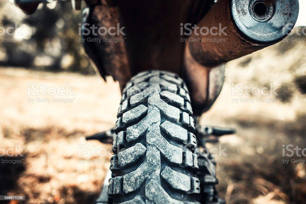 Closeup photo of off road motor bike outdoor stock photo