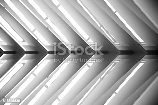 istock Close-up photo of roof structure or suspended lath ceiling 613893836