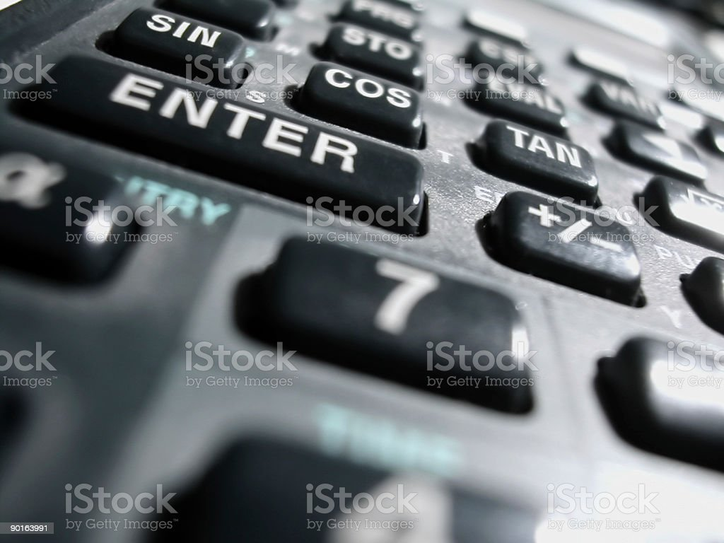 Close-up photo of scientific calculator pad keys royalty-free stock photo