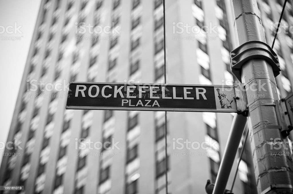 Close-up photo of the Rockefeller Plaza street sign stock photo
