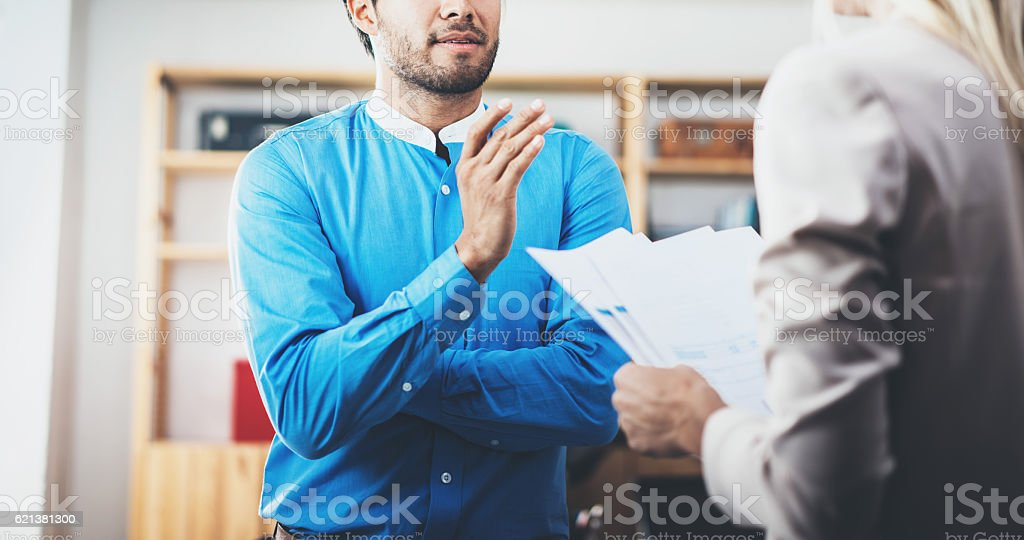 Closeup photo of two coworkers making a great business discussion stock photo