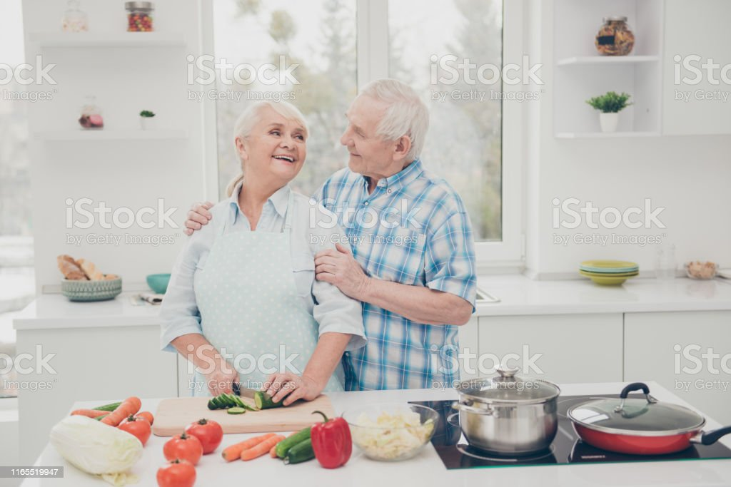 Closeup photo of two funny aged people cute pair prepare family...