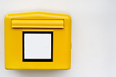 istock Close-up photo of yellow mail box with empty sign 1008504136