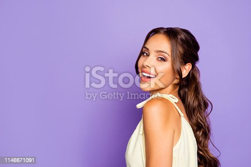 Close-up photo portrait of nice sweet lovely dream dreamy with whit teeth smile she her lady showing shoulder wearing dress isolated bright violet background.