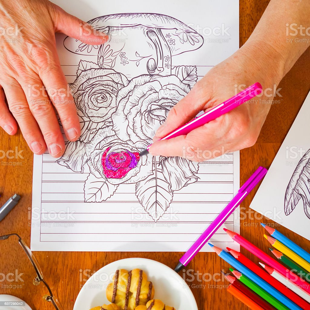 Close-up Photo Woman Holding pink marker with Flower Colorbook Page stock photo