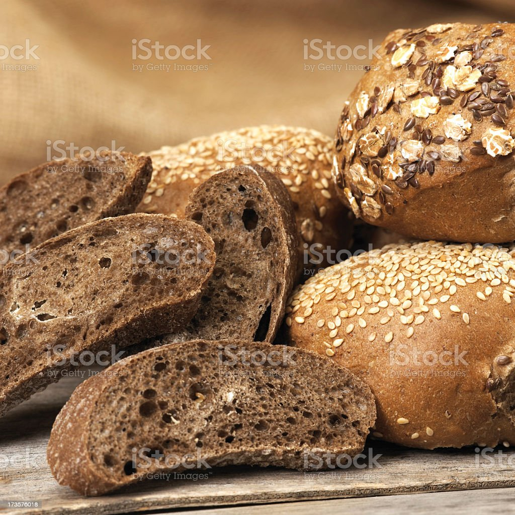 Close-up photograph of artisan bread assortment stock photo