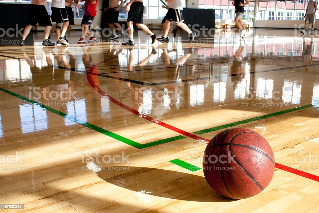 Close-up photograph of basketball during a game stock photo