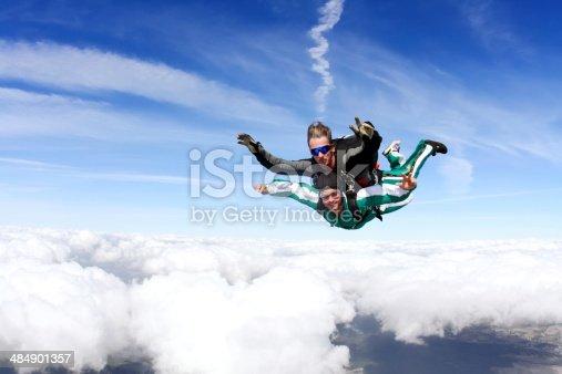 istock Closeup photograph of tandem skydiving 484901357
