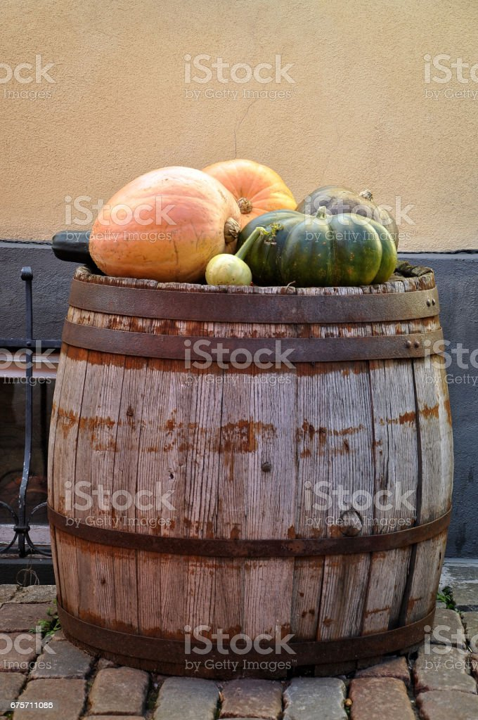 特寫攝影。在舊的木制桶南瓜。 免版稅 stock photo