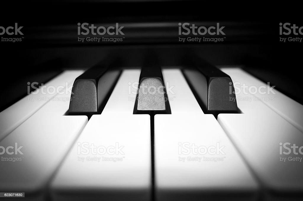 Closeup piano key. stock photo