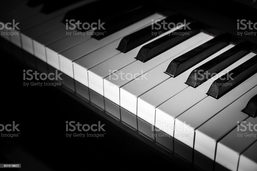 close-up piano keys. stock photo