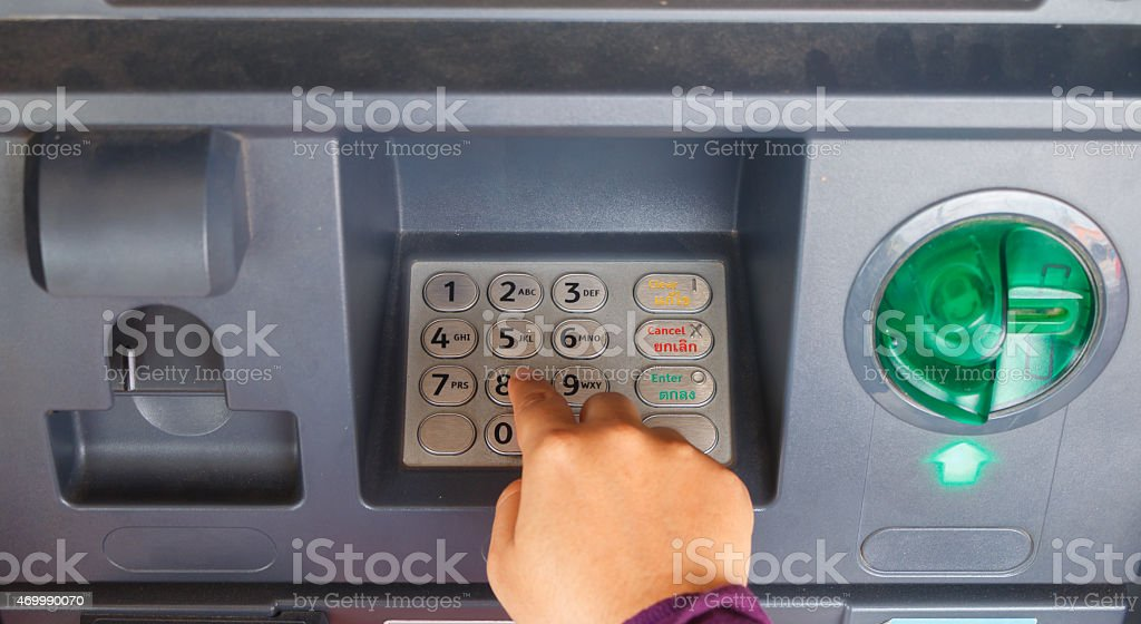 ATM close-up stock photo