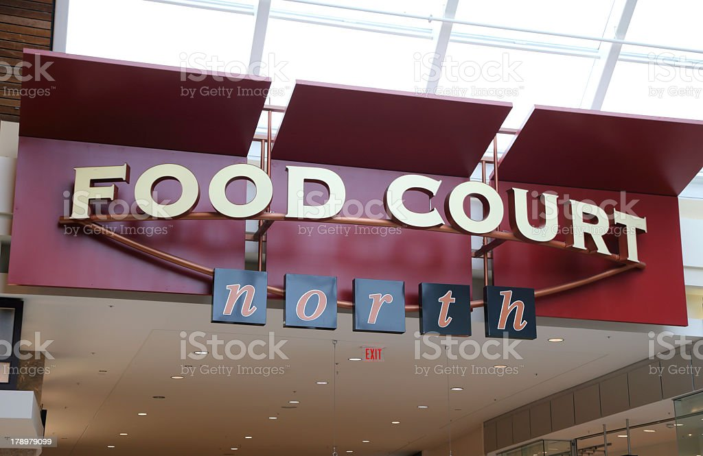 Close-up picture of a food court sign stock photo