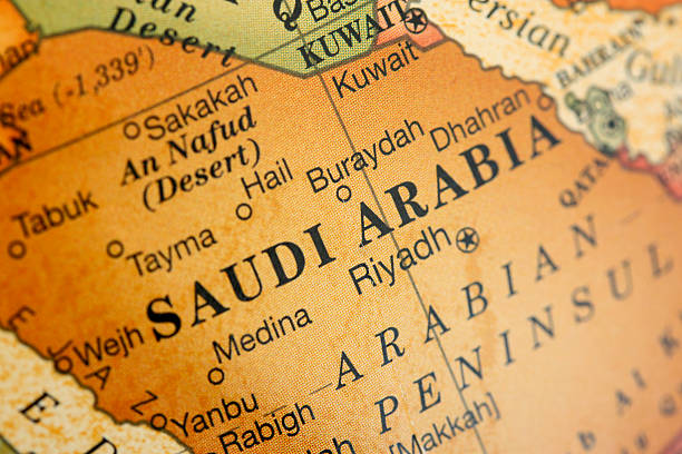 Close-up picture of a map of Saudi Arabia close-up shot of Saudi Arabia saudi arabia stock pictures, royalty-free photos & images