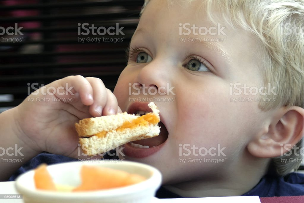A close-up picture of a young boy eating a sandwich stock photo