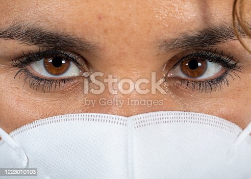 Close-up portrait of a woman with fever wearing a mouth mask