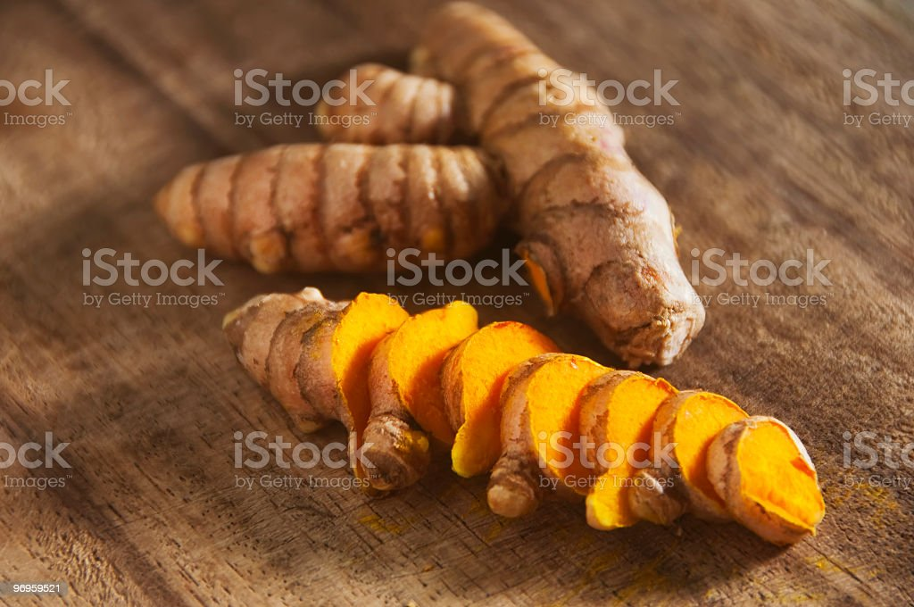 Close-up picture of diced up turmeric royalty-free stock photo