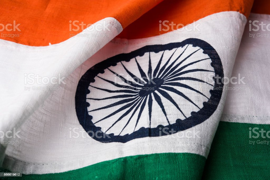 Closeup picture of indian flag made up of pure cotton or khadi, showing texture, selective focus stock photo