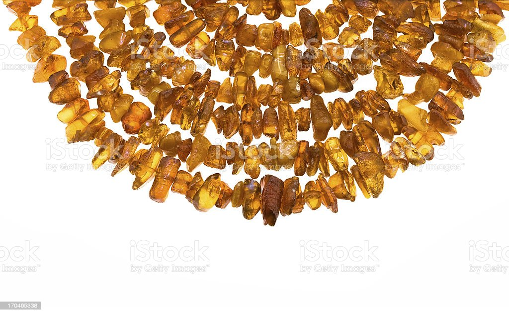 Closeup picture of natural raw amber necklace. royalty-free stock photo