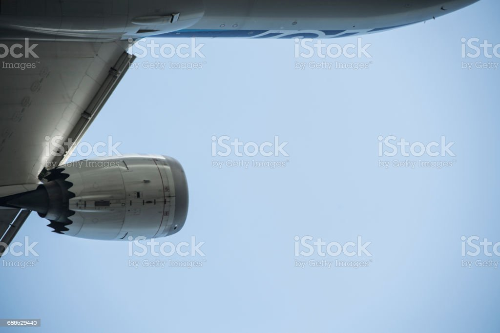 Close-up picture of the aircraft wing. foto stock royalty-free