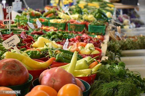 istock Close-up picture of vegetables for sale on a local market, Freshness, colored, attractive background 1183898294