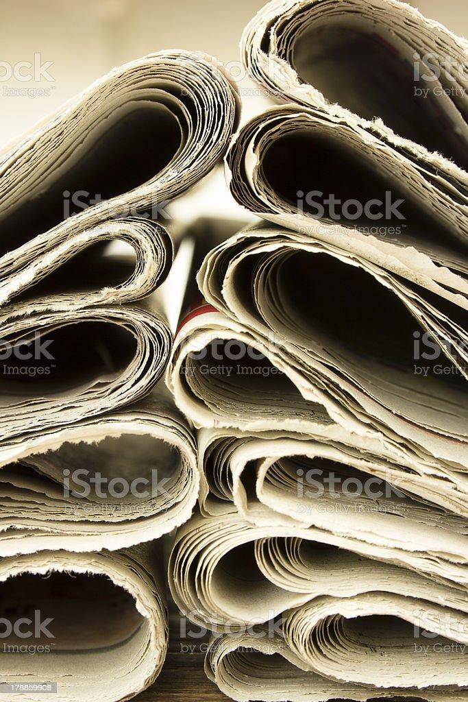 closeup pile of newspaper royalty-free stock photo