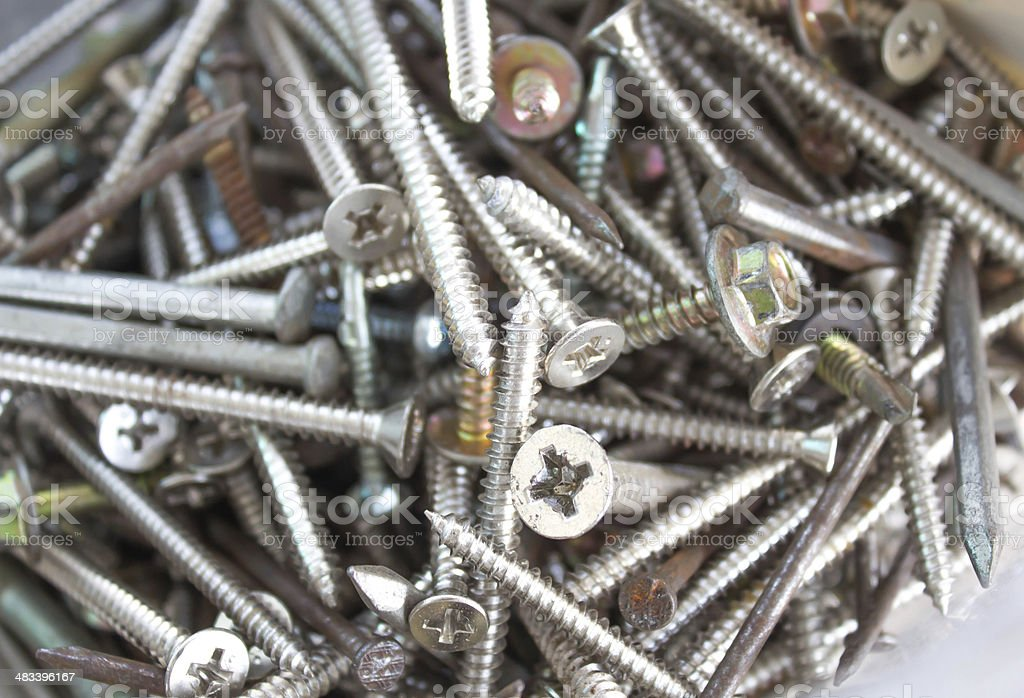 Closeup pile of screw for wood royalty-free stock photo