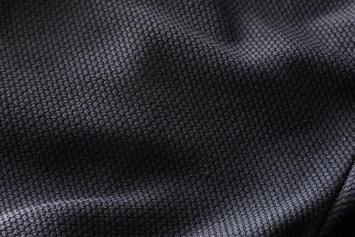 Closeup Polyester Stof Textuur Van Zwarte Atletische Shirt Stockfoto en meer beelden van Abstract
