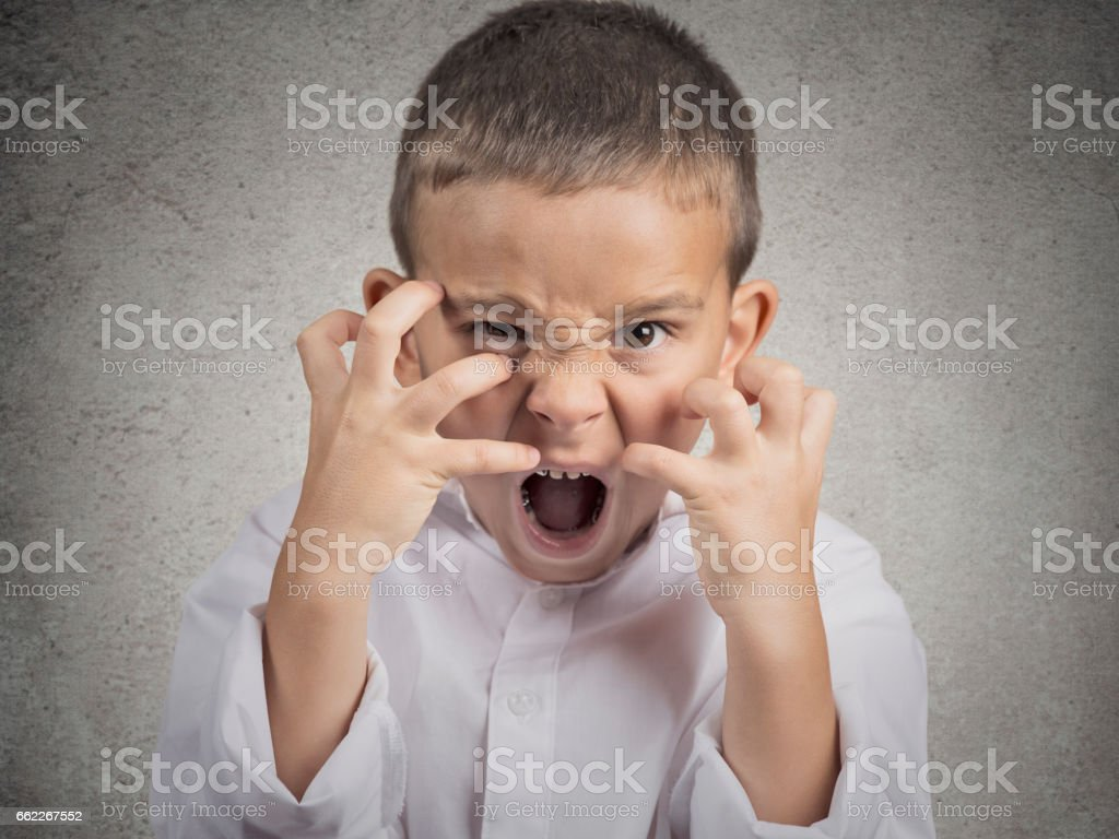 Closeup portrait angry child stock photo