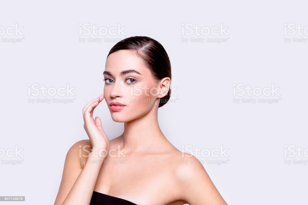Close-up portrait Beautiful young woman Beauty Cosmetics Healthcare concept stock photo