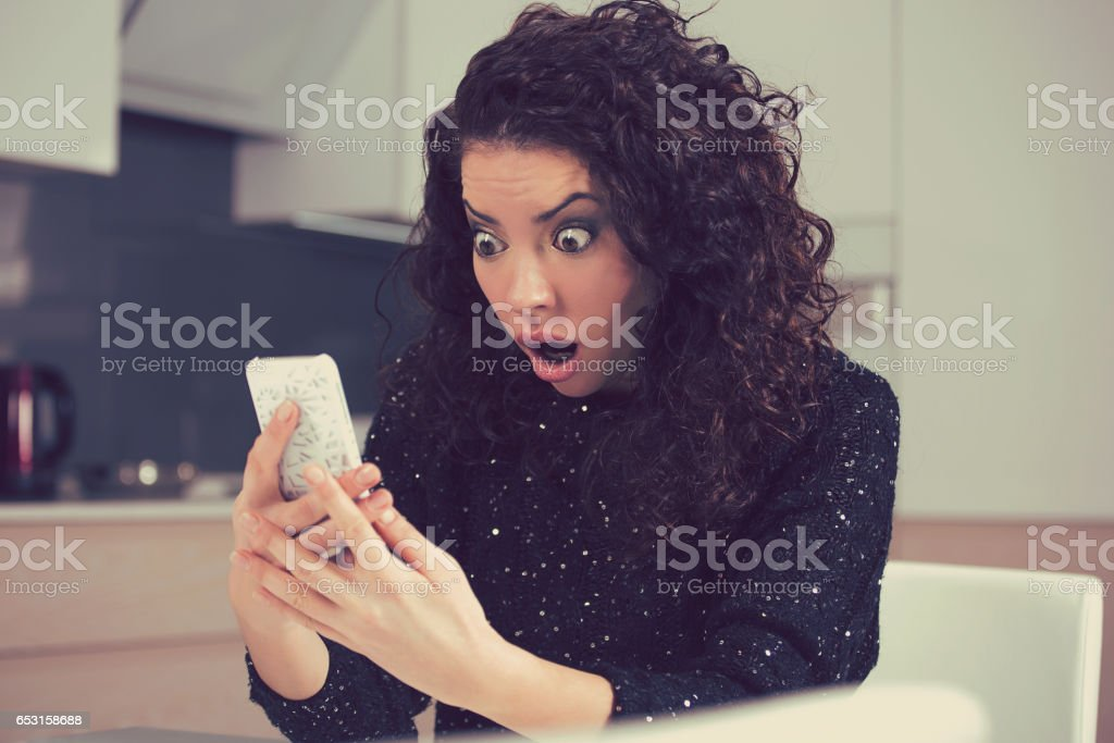 Closeup portrait funny shocked anxious woman stock photo