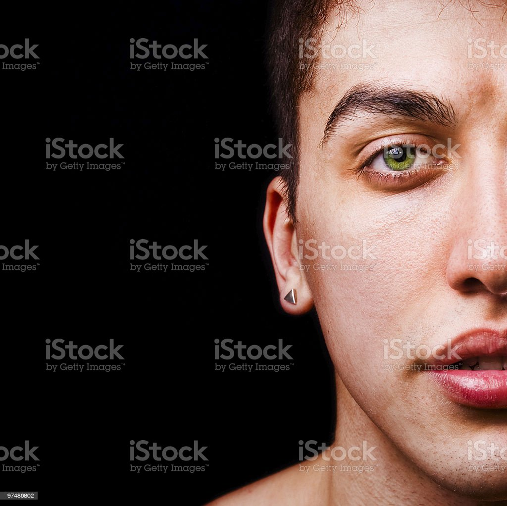 Closeup portrait - half face of handsome masculine man royalty-free stock photo