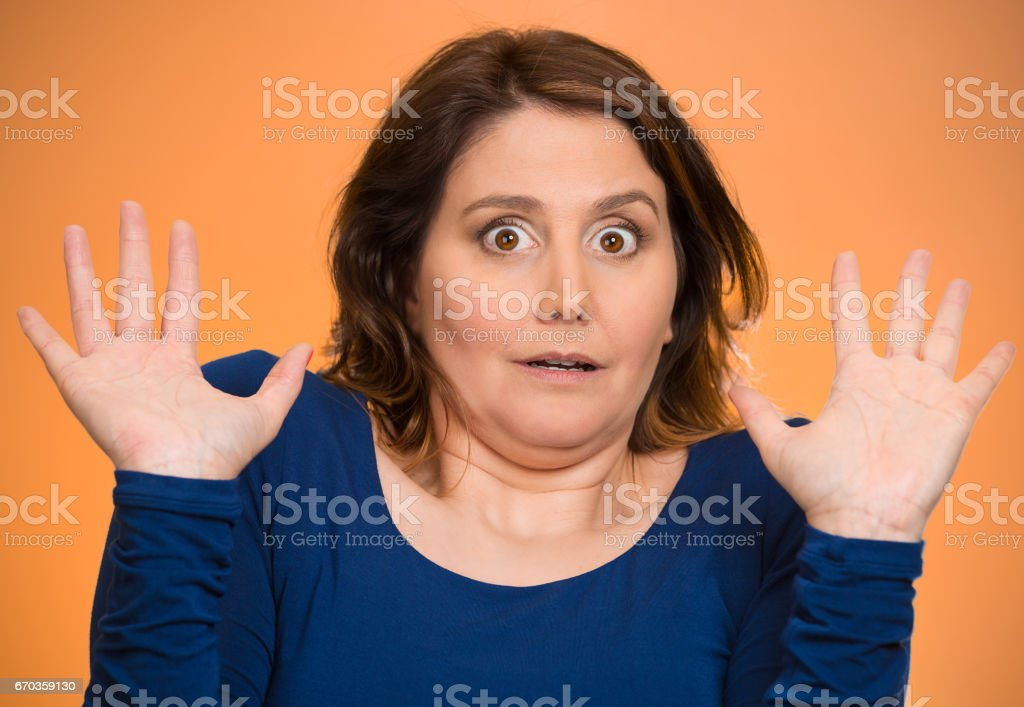 Closeup portrait headshot business woman, employee, funny looking female, shocked, stock photo